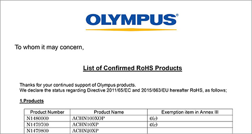 rohs compliant Olympus microscope parts