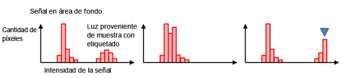 Figura 7 - Histograma bajo exposición normal (izquierda), exposición deficiente (centro), y sobreexposición con saturación en el marcador azul (derecha).
