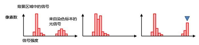 图7 – 正常曝光(左)、曝光不足(中)、 曝光过度(蓝色标记处达到饱和,右)时的直方图。